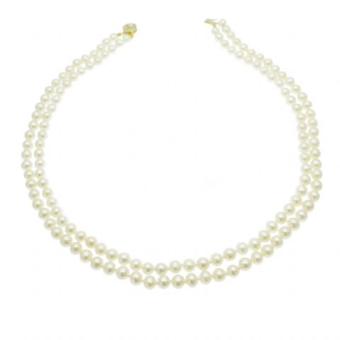 Double Strand Pearl Necklace 14ct Gold 6MM White Pearls